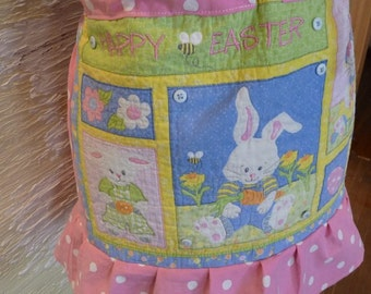 Easter skirt, handmade Misses skirt, Bunny Rabbit skirt, unique clothing, Happy Easter, polka dots, buttons, drawstring, recycled fabrics