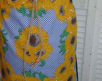 Handmade Skirt, Sunflower Skirt, Knee Length Skirt, Unique Clothing,Recycled Fabrics,Drawstring Waist,Beads,Recycled Pillowcase,Eco Clothing