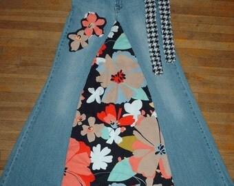 Long Skirt, XSmall Size 3, Handmade Skirt, Upcycled Clothing, Recycled Skirt, Handmade Belt, Unique Clothing, Colorful Flowers,Applique,Boho