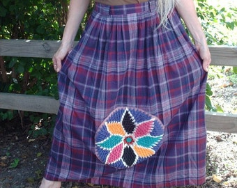 Flannel Skirt, Handmade Skirt, Long Skirt, Purple Skirt, Warm Flannel Skirt, Upcycled Clothing, Textured Applique, OOAK, Unique Clothing
