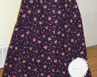Corduroy Skirt, Upcycled Skirt, Vintage Doily, Warm Skirt, Unique Skirt, Purple Skirt, Side Pockets, Unique Clothing, Misses Clothing, Long