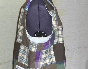 SALE, Handmade Purse, Patchwork Bag, Recycled Fabrics, Plaids Purple, Handmade Patchwork, Unique Bag, Shoulder Bag, Hippie Boho, Hobo Bag