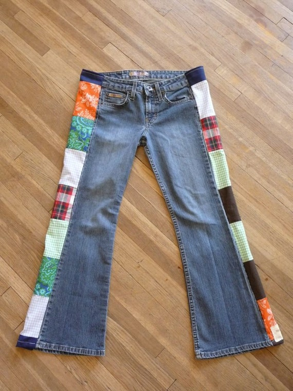 Jeans Patchwork Jeans Handmade Unique Clothing Vintage Patchwork Vintage Fabric Recycled Jeans Pants Womens Short Clothing Colorful