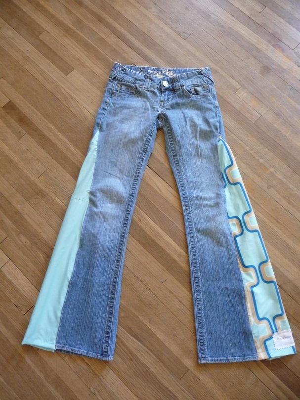 Hippie Jeans Handmade Boho Jeans Unique Clothing Side Inserts