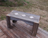 Shabby Tile Coffee Tables-- Recycled Cedar Wood 4x4 Stones In Lay