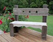 Texas Star Bench Country Decor Recycled Cedar 4 FOOT LONG, Farm, Porch or Deck, Outside Or Inside Decor, Entry Bench