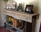 Fall Wood Recycled Furniture Console Table. Country Home Decor. Wood Furniture Rustic Cabin Lake House Wood Furniture Country House Table