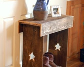 Wood Console Table. 30x12x30 Entry Table Stars Reclaimed Wood Wall Runner Shoe Storage TV Stand FarmHouse Table Rustic Furniture