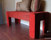 Large Wood Bench. ANY COLOR Wood furniture. Rustic Furniture. Farmhouse Bench Country Home Decorations. Red Coffee table Holiday Decorations