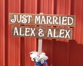 Wedding Signs LARGE FONT Your Words. Hand Painted Just Married Sign Rustic Weddings. Vintage Weddings. Road Signs.
