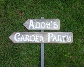 Garden Party Sign With Stake. YOUR WORDS. Reclaimed Wood Signs. Hand Painted Sign. Street Sign Directional Road Signs for Home Or Garden