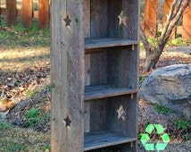 Wood Bookcase Farm House Bookcase. Shelf Cottage Decor. Recycled Wood Furniture. Wooden Furnishings. Eco Furniture Star Bookcase