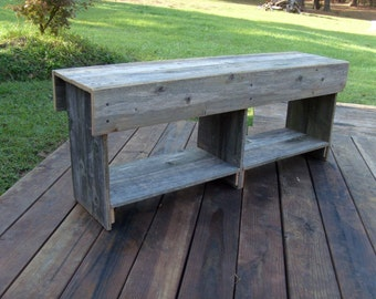 Wood Bench Entry, Shoe Storage Wooden Bench Coffee Table Tv Stand with Bottom Shelf. Rustic Furniture. Recycled Wood by Trueconnection