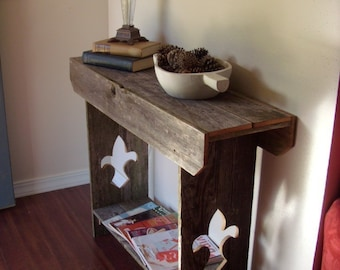 Console Table Fleur De Lis Wall Runner Louisiana TV Stand Reclaimed wood furniture Farmhouse Table Rustic Wood Tables Beach house Furniture
