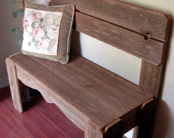 Reclaimed Wood Bench. Charming Rustic Furniture. Country Home Decor. Fall Entry Bench. Wooden Bench. Farm House Bench. Beach House Decor