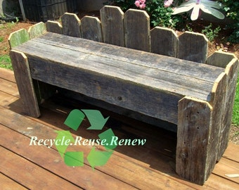 Garden Bench. Recycled Wood Bench.  Rustic Bench. Country Bench. Rustic Furniture. Cast off Recycled Cedar Wood. Patio Furniture. Table