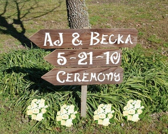 Name and date Wedding Sign Recycled Wood Signs. Your Wording. Reception Sign. Ceremony Sign. His and Her name sign Rustic Outdoor Barn Yard