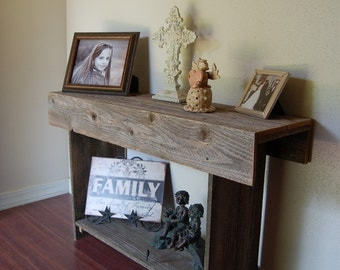 Skinny Console Table Rustic Sofa Table Reclaimed Wood Entry