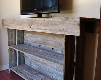 Large Media Wood Console Table. Large Media TV Table Recycled Wood  Furniture. Organic Wood