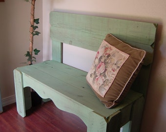 Country Wood Bench Farmhouse Bench. Repurposed Wood Bench. CHOOSE COLOR. Wooden Entry Bench Home Decor  Cottage Seating Entry Way Chairs