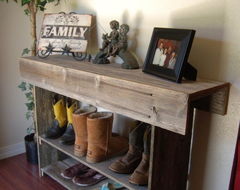 Large Console Wood Table. Large Entry Table. Recycled Furniture Console Country Home. Wood Furniture Rustic Cabin Lake House Wood Furniture