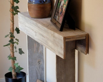 30x7x30 Console Table. Small Entry Table. Skinny Table. Wall Table. White Distressed Entryway Table, Recycled Wood, Shabby Chic Shelf