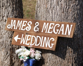 Wood Wedding Signs LARGE FONT With A Stake. Reception Decor, Wooden SIgns, Rustic Wedding Signs