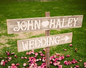 Wedding Signs Romantic Outdoor Weddings LARGE FONT Hand Painted Reclaimed Wood. Rustic Weddings. Vintage Weddings. Road Signs.