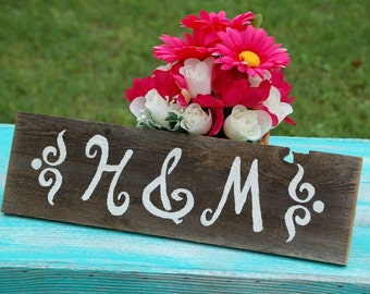 Gift for Couple Wedding Sign His Her Initials Sign. Chair Signs. Display Wedding or Anniversary. Wedding Gift. Reception Decorations