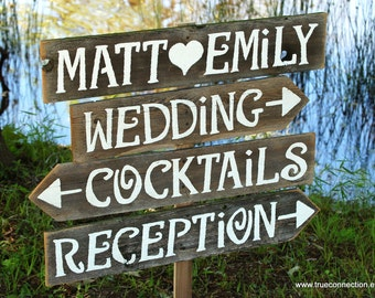 Large Wedding Signs, Wood Reception Signs. Parking Signs. Restrooms Sign. Cocktails sign. Outdoor Wedding Decor. Country Barn Wedding. Fun