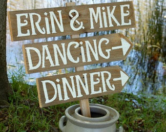 Country Wedding Signs Rustic Weddings Pinterest, With A Stake, Arrow Reception Party Sign Dinner and Dancing Sign Names and Love Heart Decor