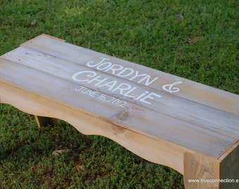 Wood Guest Book Bench. Names and Date Wedding Guest Book Alternative. Wood Wedding Bench Wooden Guest Book Ideas Signing Bench