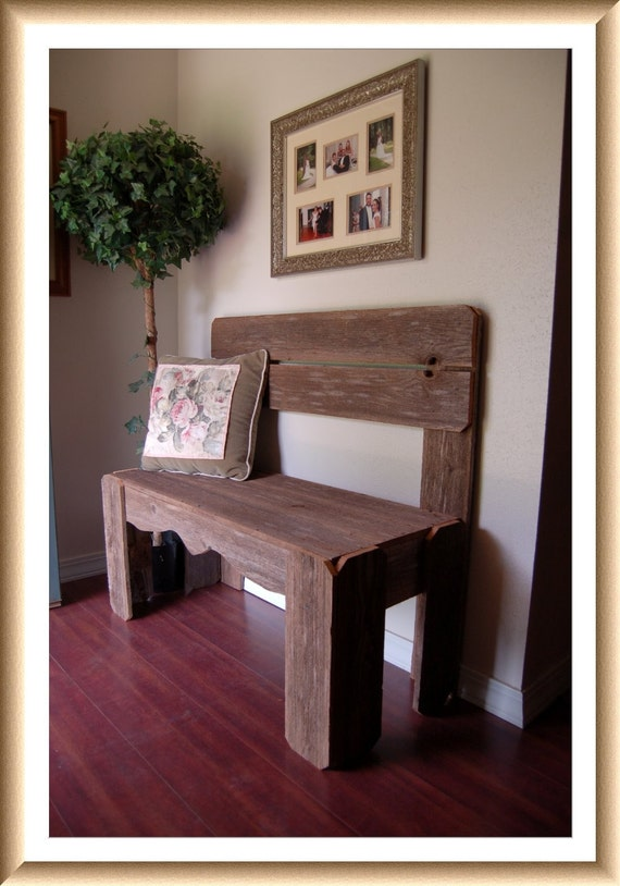 Reclaimed Wood Bench. Charming Rustic Furniture. by TRUECONNECTION