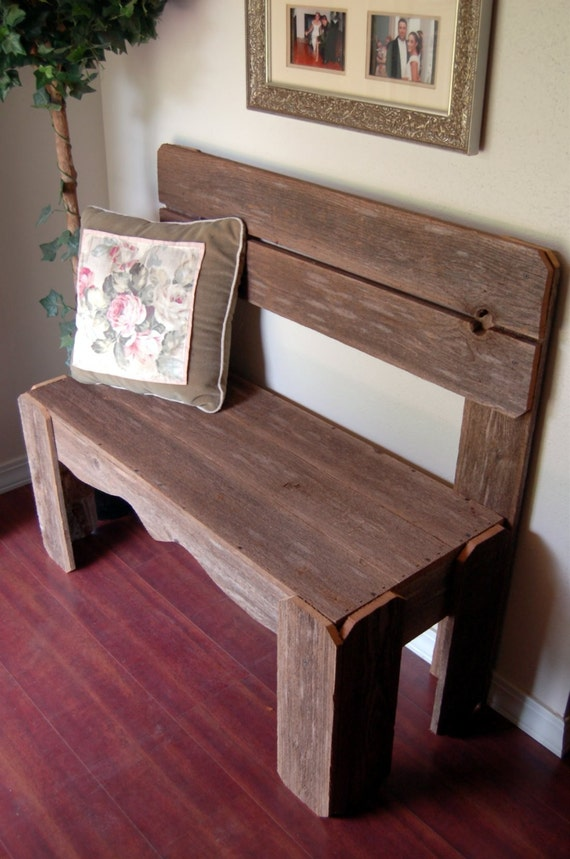 Reclaimed Wood Bench Charming Rustic Furniture Country Home