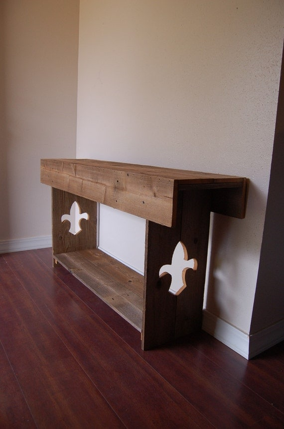 Reclaimed Wood Bench with Fleur De Lis Legs. Entry Bench. Wooden 48 x 12 x 24. Wood Entertainment Center Recycled Wood Furniture. Country