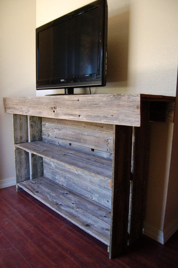 Large Media Wood Console Table. Large Media TV Table Recycled Wood Furniture. Organic Wood Furniture. Wood TV Stand.