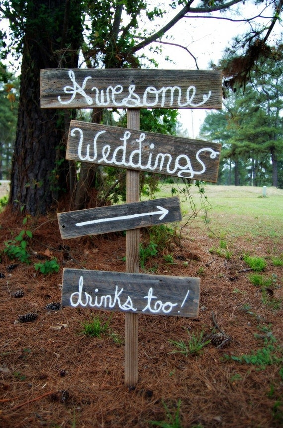 Items similar to rustic wedding signs cursive or print for Outdoor decorative signs
