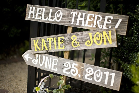 Wedding Signs Martha Stewart Weddings Featured LARGE FONT 3 With A Stake. Hand Painted Reclaimed Wood Signs. You Pick Your Colors
