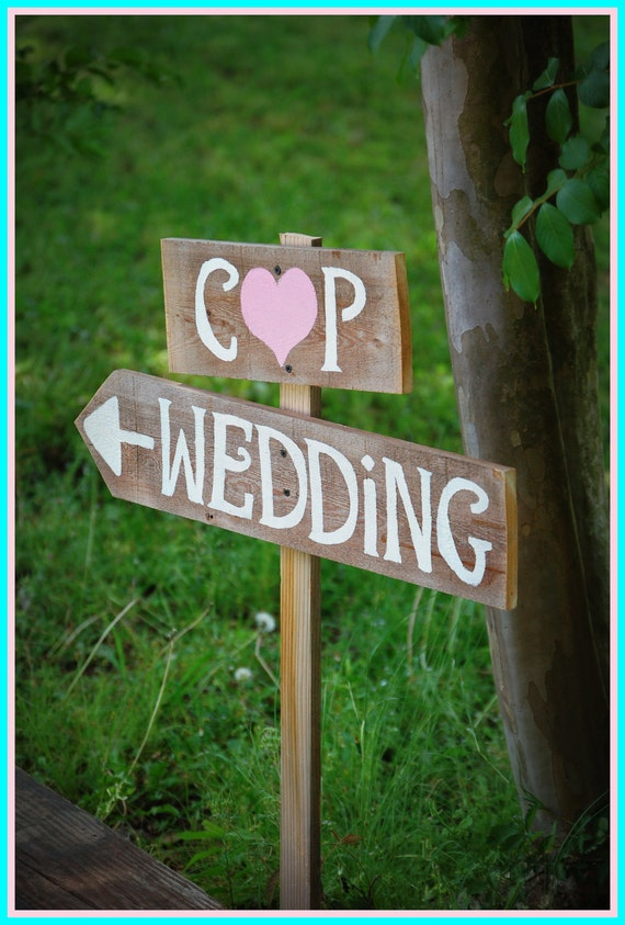 Arrow Wedding Signs Rustic Wedding Intials Sign LARGE Hand Painted Reclaimed Wood. Vintage Weddings. Road Signs. Pointing Wedding Sign