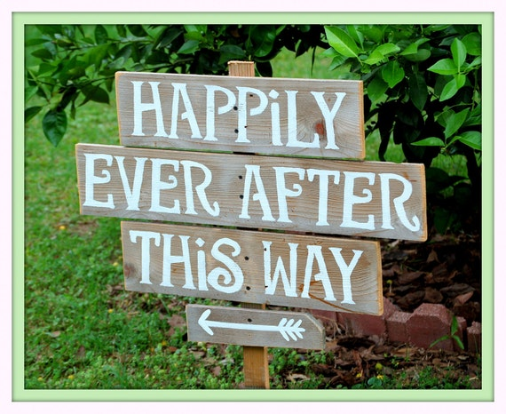 Rustic Wedding Signs LARGE FONT Recycled Wood Happily Ever