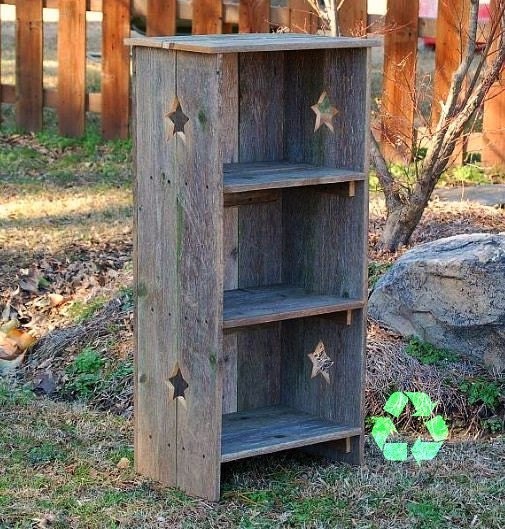 Green Shelves Canisters Diy Island Wood Nailed To: Star Bookcase. Country Wood Bookcase. Recycled Furniture. Star