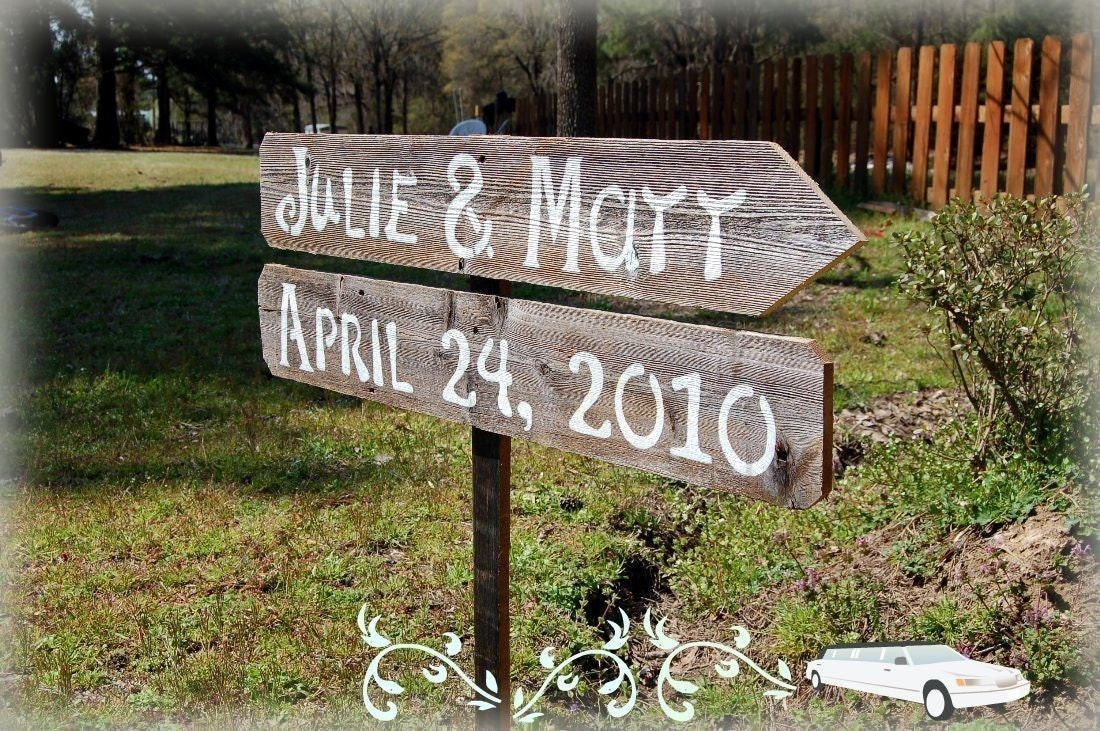 DIY Wood Wedding Signs 2 Directional With1 Stake Reclaimed