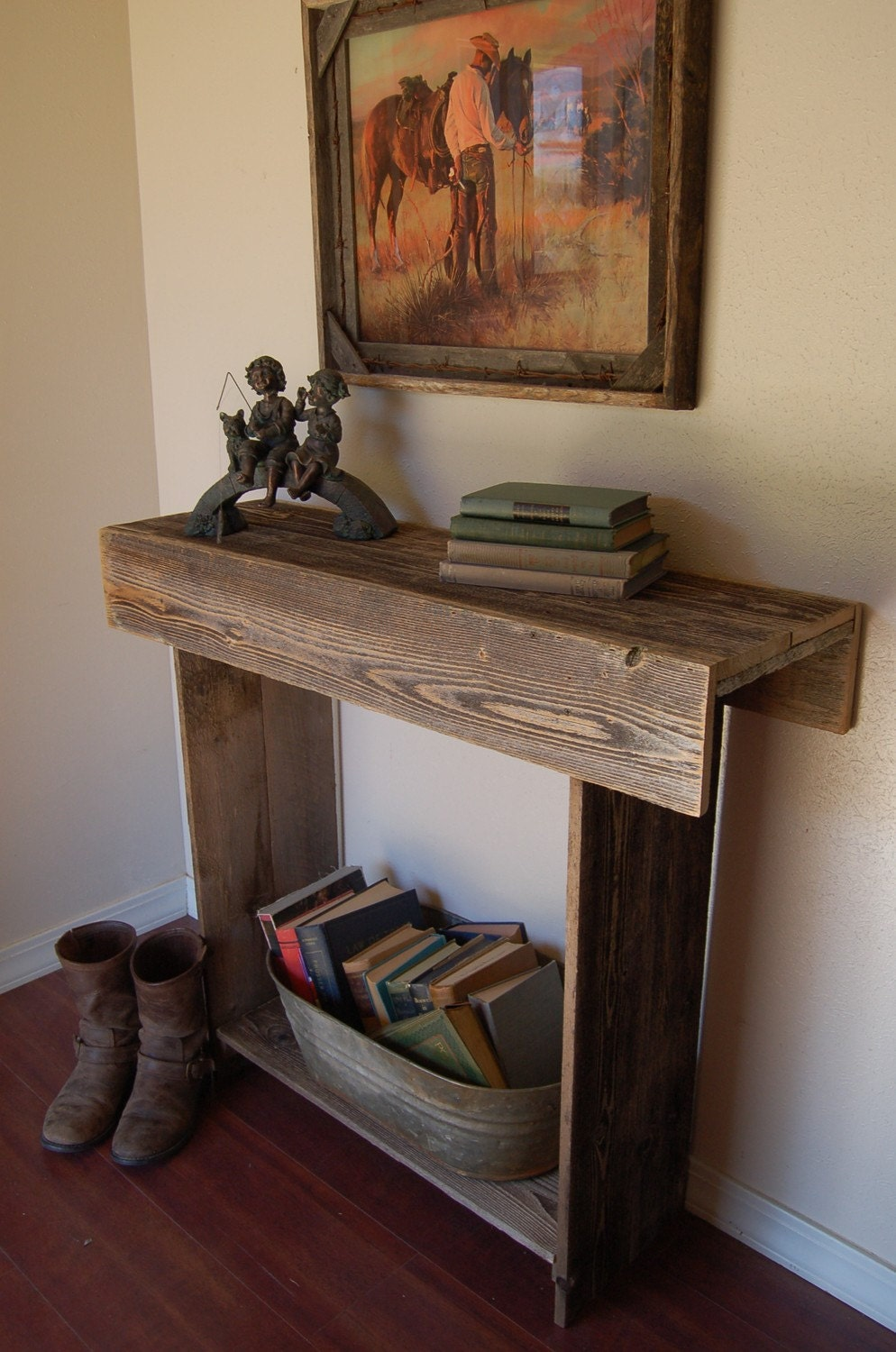 Reclaimed Wood Console Table 30x13x30 Entry Table Country