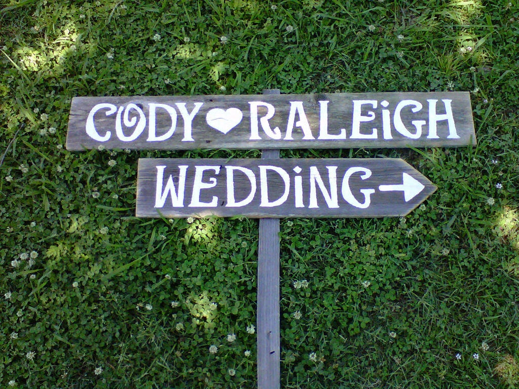 Wedding Signs With A Stake. Hand Painted Wedding Signs