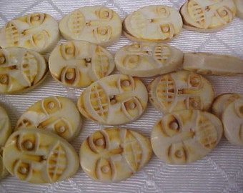 10 Carved Bone Face Beads