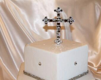 """5"""" Swarovski Crystal Cross Cake Topper Mosaic Style For Baptisms Christenings Communion"""