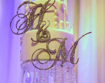 "6"" Swarovski Crystal Custom Monogram Cake Topper any letter from the Alphabet"