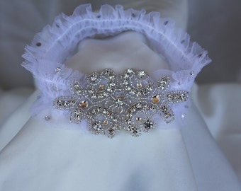 Bridal Garter Applique with Lace Swarovski Crystals Vintage Inspired