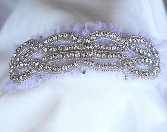 Bridal Garter Lace Swarovski Crystals Vintage Inspired