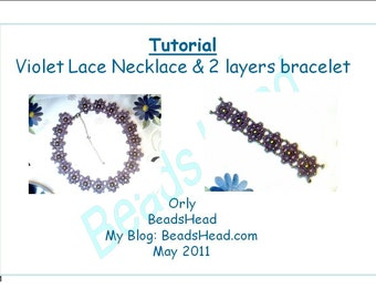 Step-by-Step pdf Tutorial - Lace violet necklace and bracelet